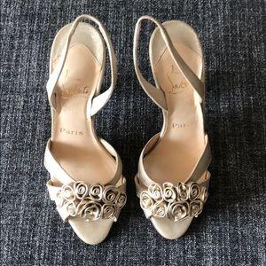 New Christian Louboutin high heel gold sandals